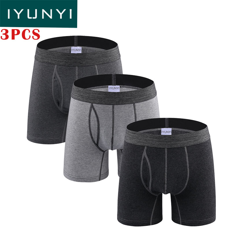 Boxers Iyunyi 3pcs\lot Casual Men Underwear Cotton Mid-waist Boxers Shorts Male Solid U Convex Pouch Long Leg Underpants Calzoncillos Evident Effect