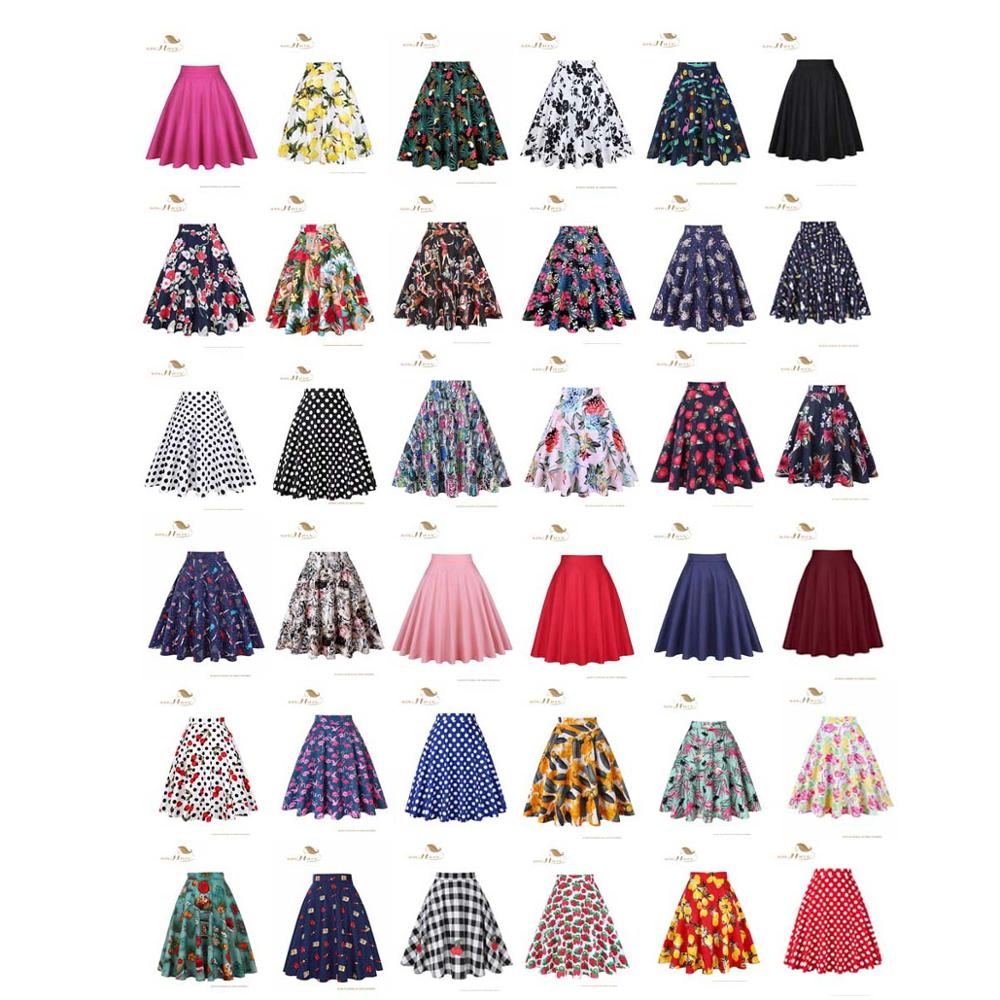 Image 4 - SISHION Women Skirt Blue Red Black White Polka Dot High Waist Vintage Skater faldas mujer Plus Size School Short Skirt VD0020-in Skirts from Women's Clothing