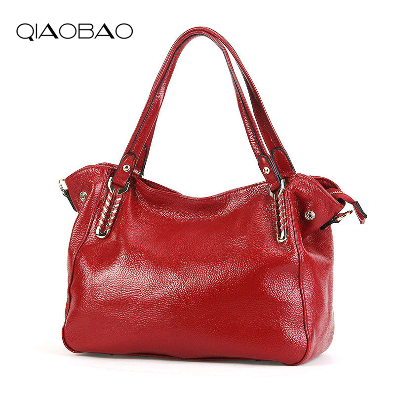 QIAOBAO 100% Genuine Leather Women's Messenger Bags First Layer Of Cowhide Crossbody Bags Female Designer Shoulder Tote Bag 2016 new fashion men s messenger bags 100% genuine leather shoulder bags famous brand first layer cowhide crossbody bags