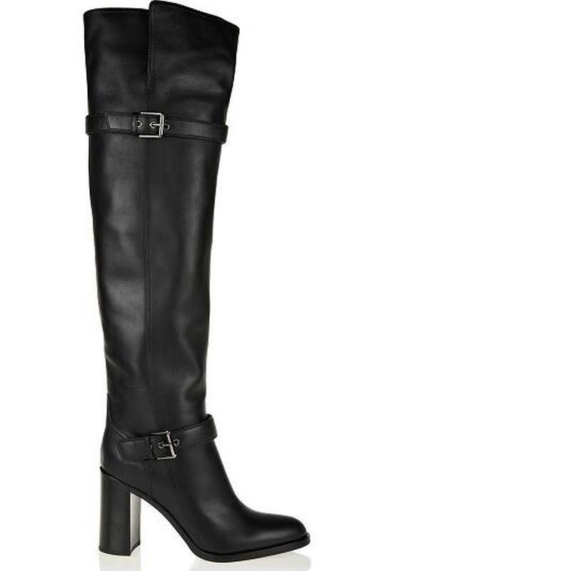 Hautes Dijigirls Cuir Chaud Mode Noir Talon Nouvelle Femme Souple Épais Bottes Fausse Fourrure Haute Femmes Genou Chaussures En Hiver wTwRgvfqr