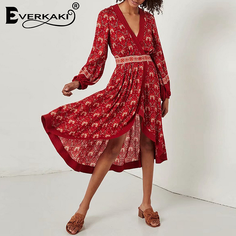 8d605125ea495 Everkaki Women Boho Floral Print Wrap Dress Gypsy Long Sleeve Midi Dress  V-Neck Red Cotton Bohemian Dresses Women Summer 2019