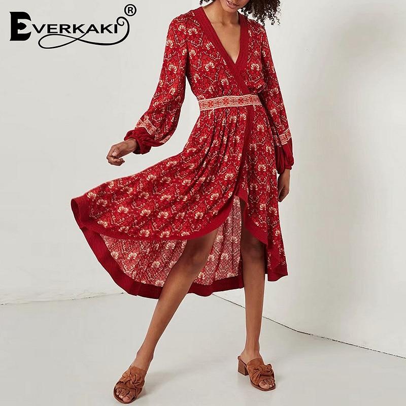 Everkaki Women Boho Floral Print Wrap Dress Gypsy Long Sleeve Midi Dress V Neck Red Cotton Bohemian Dresses Women Summer 2018