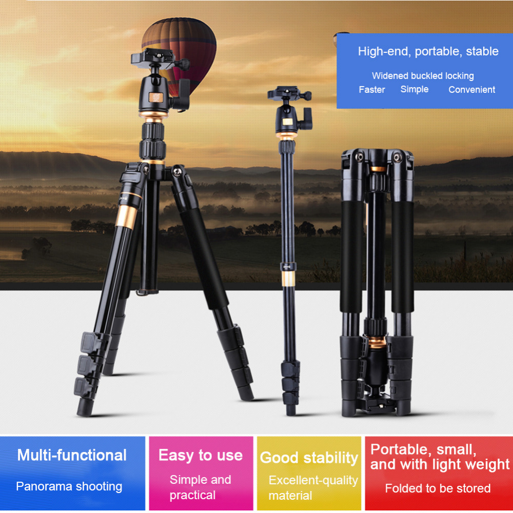 QZSD Professional Photographic Portable Aluminium Alloy Camera Video Tripod Kit Monopod Stand Ball head For Travel Release Plate dhl free 2017 new professional tripod qzsd q999 aluminium alloy camera video tripod monopod for canon nikon sony dslr cameras