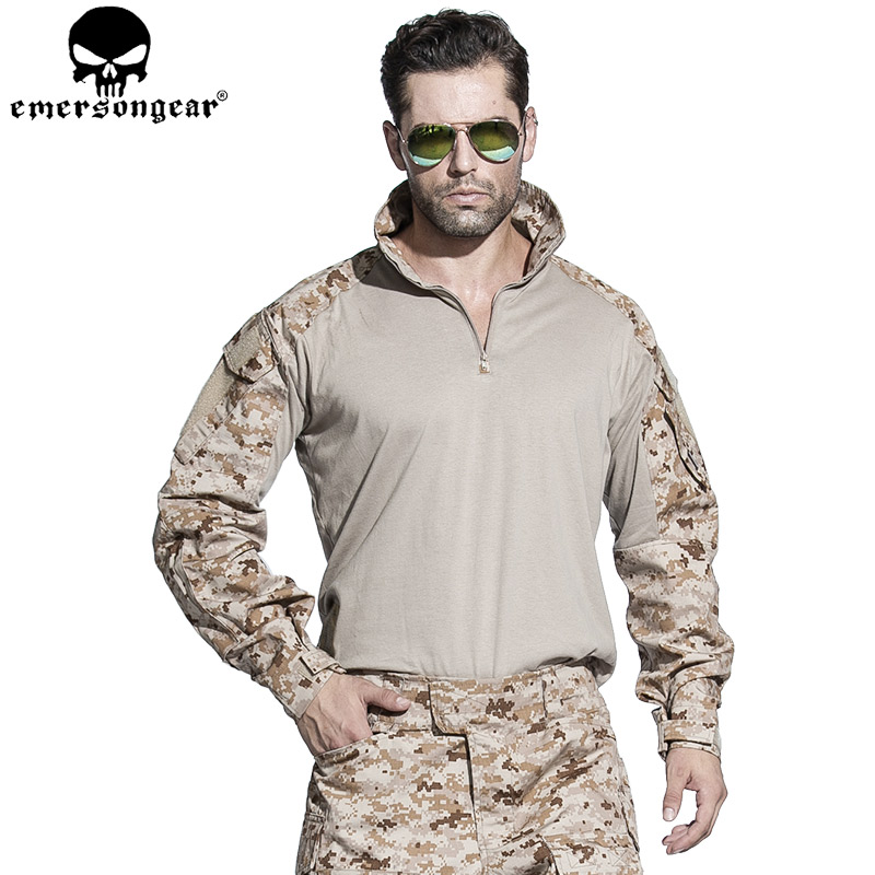 EMERSONGEAR G3 Combat Shirt Military Army Airsoft Tactical Military Camouflage T-shirt AOR1 EM8575 7356 15 led compass bivouac camping lantern light lamp travel outdoor exercise equipment with compass