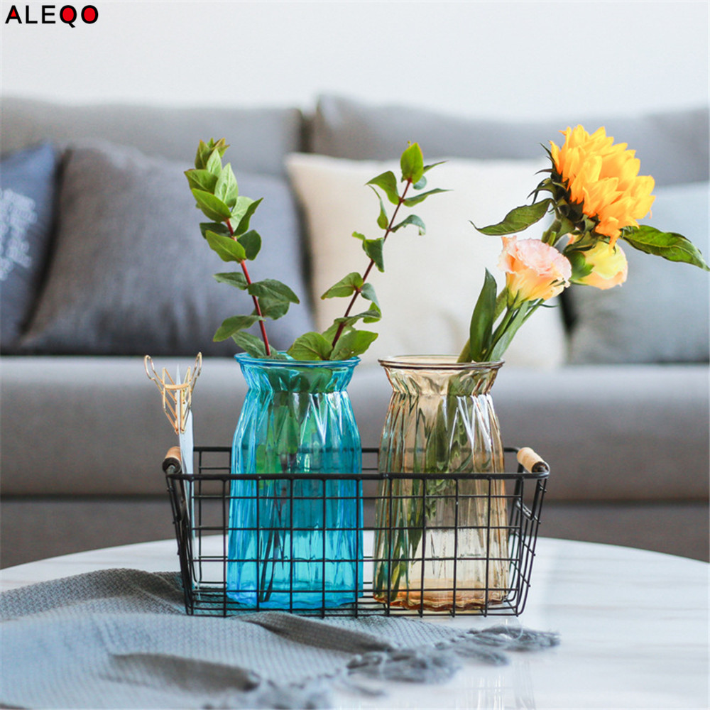 Graceful Nordic Chic Glass Storage Jar Bottle Scandinavian European Desk Storage Bottle Vase Organizer Flower Container Decor