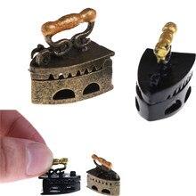 Mini casa de bonecas, miniatura, 1:12, brinquedo, vintage, metal, preto, ferramenta de roupa de ferro, urniture, brinquedos, acessórios, venda imperdível