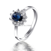 Natural Sapphire Ring 925 Sterling silver Woman Fashion Fine Elegant Jewelry Princess Birthstone Gift SR1588S