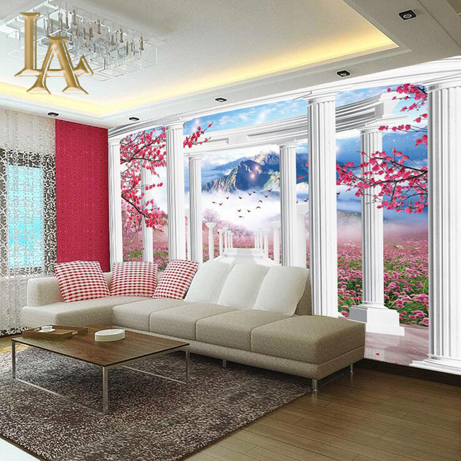 Customize Any Size 3D Flower Landscape Bedroom TV Background Wall Paper Home Decor Living Room Non-woven Mural Wallpaper
