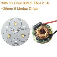 DIY Flashlight Torch 3* Cree XML2 XM-L2 High Power LED Emitter Cool White Neutral White Warm White 50mm+ 12V 26mm 5 Modes Driver