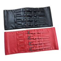 Vintage 15CM Wide Waist Belt WOmen PU Pattern Corset Waistband Red Black Faux Leather Ladies S