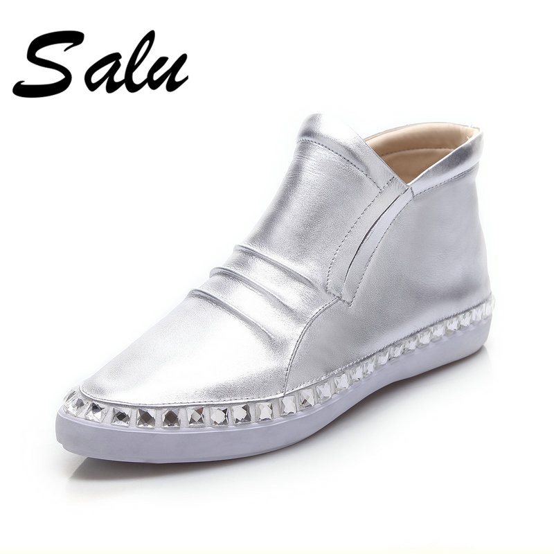купить Salu New Women Ankle Boots Genuine Leather Wedges low Heels Shoes Casual Autumn Winter Warm Flats Shoes Woman Basic Boots по цене 3125.22 рублей
