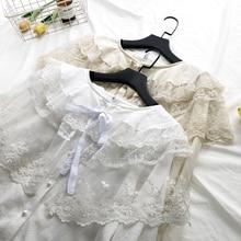 Милая принцесса Лолита kawaii кружевной сетчатый слой Питер Пэн воротник кружевная рубашка mori девушка блузка Весна