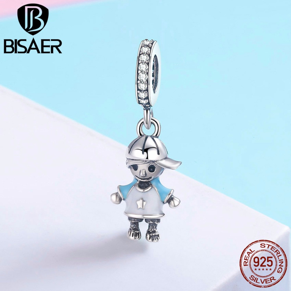 100% 925 Sterling Silver Cute Boy & Girl Pendant Charm Fit Bracelet & Necklace Original 925 Silver Jewelry Birthday Gift