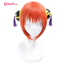 L-email wig New Gintama Kagura Cosplay Wigs 30cm/11.81inches Short Orange Heat Resistant Synthetic Hair Perucas Cosplay Wig