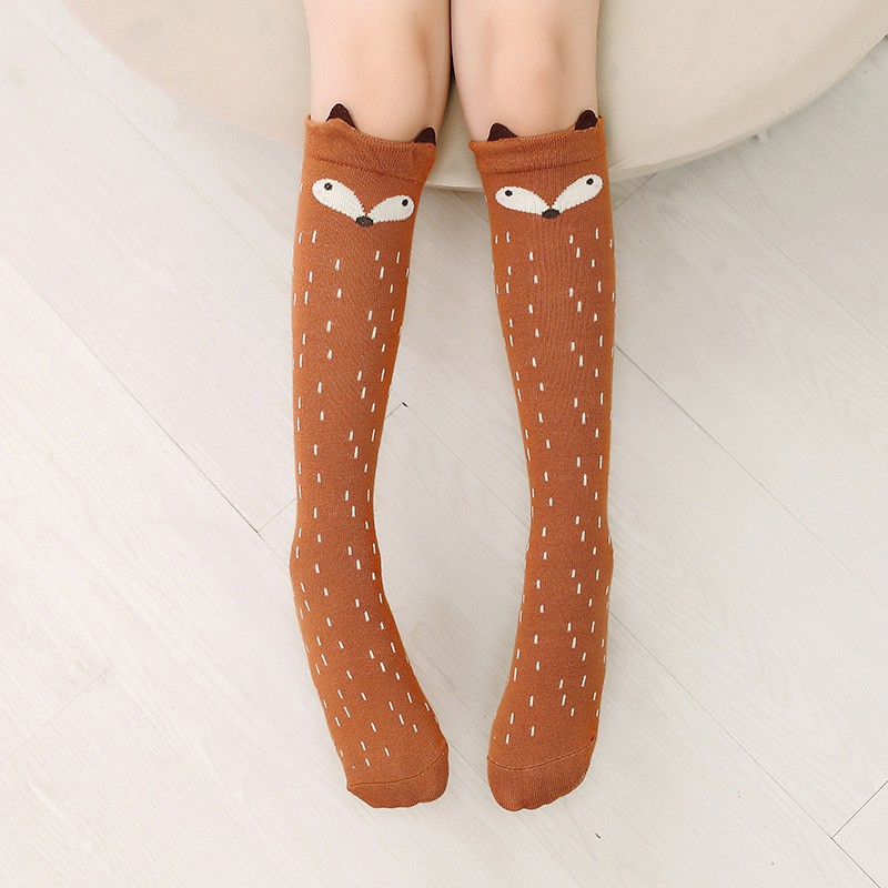 In Design; Nice 1 Pair Fashion Baby Children Girls Socks Fox Pattern Soft Cotton Knee High Hosiery Novel
