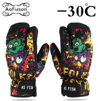 Winter thermal Snowboard Ski Gloves Unisex Waterproof Cool-Resistant Snowboard Gloves Men Womens Guantes for Skiing Snowboarding