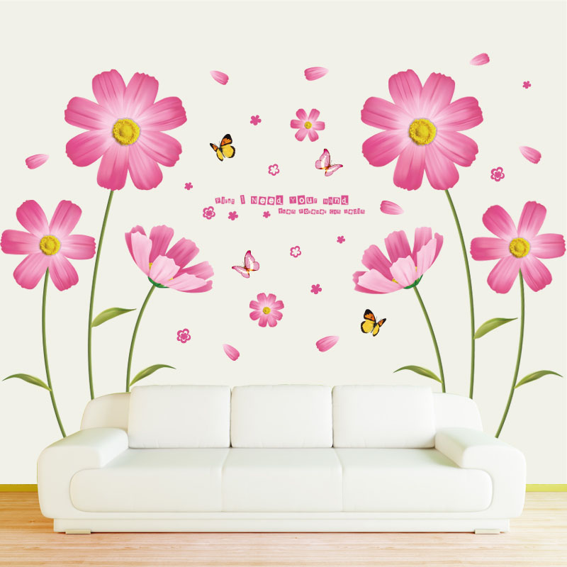 [Fundecor] PVC orange flowers butterfly leaf wall stickers for kids rooms living room bathroom kitchen decor wall decals poster
