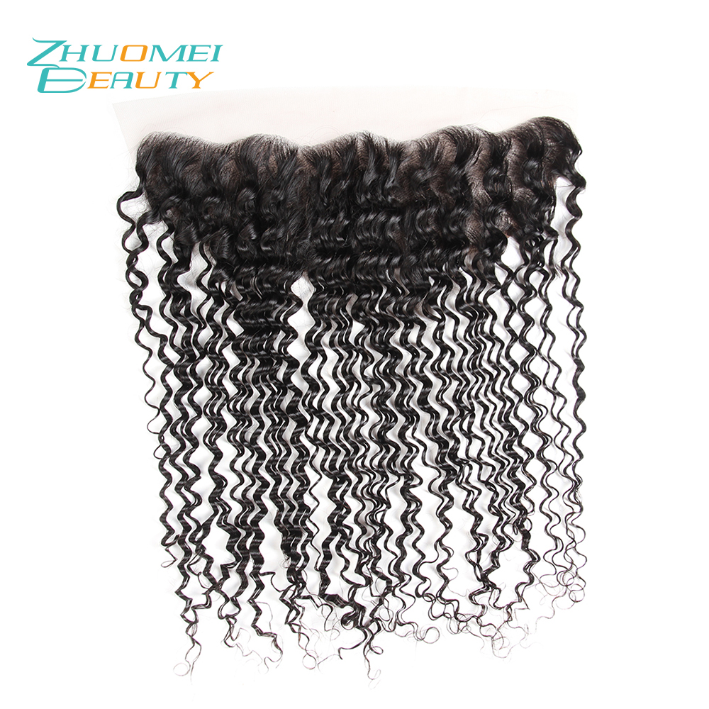Zhuomei BEAUTY Brazilian Deep Wave 13x4 Lace Frontal Closure With Baby Hair Natural Black 100% Remy Human Hair Weave 10-20inch