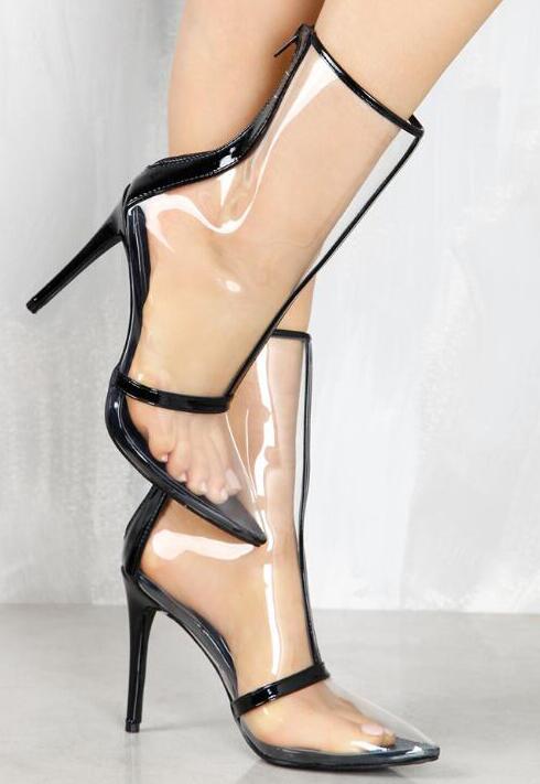 Femmes Bracelet Clair En Mode Hauts Chaude De 2018 Stiletto Dames Peep Sexy Bottes Black Toe Cuir Patchwork Pvc Cheville nude Vente À Talons Ox46zxqP