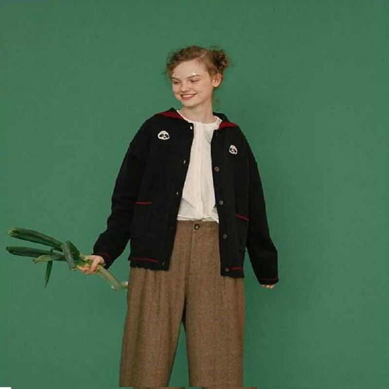 US $55.0 |Autumn Winter Soft Women Cardingan Sweaters Loose Navy Collar Long sleeved Tie Knit Cardigan Female Sweet Sweater|Cardigans| AliExpress