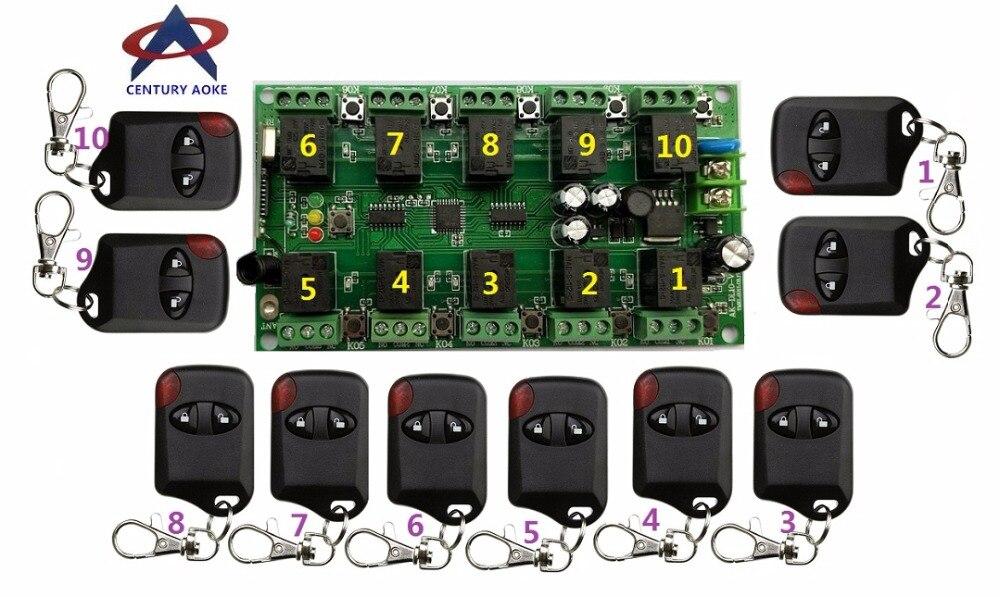 DC12V 10A 10CH RF système de télécommande sans fil 1 * 10CH récepteur + 10 * émetteurs individuels apprentissage code portes/lampe