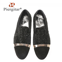 new Luxury diamond and gold strap men handmade black suede shoes Fashion Banquet and wedding men's loafers plus size men's flats