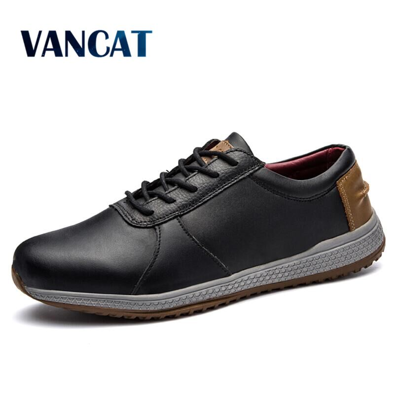VANCAT Men's Leather Casual Shoes Classic Fashion Men Shoes Lace up Flats Black Men Krasovki Flat Heel Sneakers Tenis Masculino shoes men leather 2017 ms casual shoes low help white black flat leisure fashion female superstar shoes tenis feminino mujer