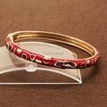 BR248 Bohemia Gypsy Colorful Love Heart Cloisonne Gold Color Vintage Enamel Bracelet Bangle Cuff jewelry For Woman D6cm W0.6cm