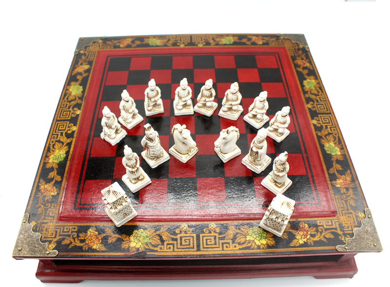 High-end Collectibles Vintage Chinese Terracotta Warriors Chess Set Best gift for Leaders Friends Family 26.5*26.5cm*6cm 2