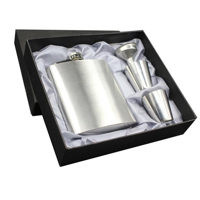 Tenske flask hot 1 set 7 oz Pocket Hip Flask Stainless Steel Flagon Wine Pot Set Portable Bottle Funne flasks liquor*30 GIFT