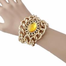 CirGen, с цветами и кристаллами, многослойное на не сужающемся книзу массивном думаю Шарм цепочка золотого цвета с большими кристаллами Модные женские браслеты браслет ювелирное изделие подарок D70