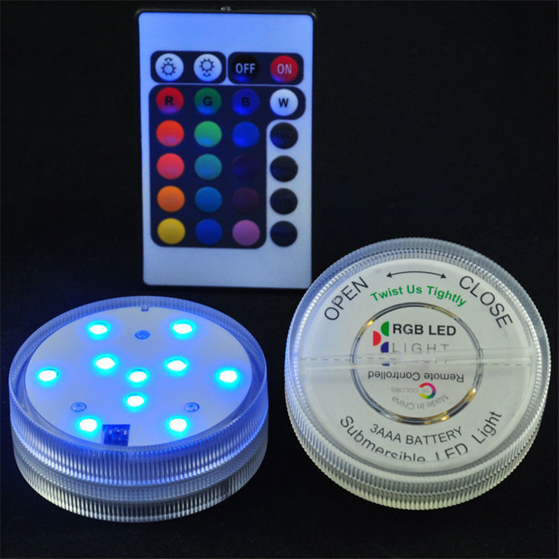 1piece Kitosun Centerpieces Remote Controlled Submersible LED Lights Color Changing Lights For Pool Pond Christmas