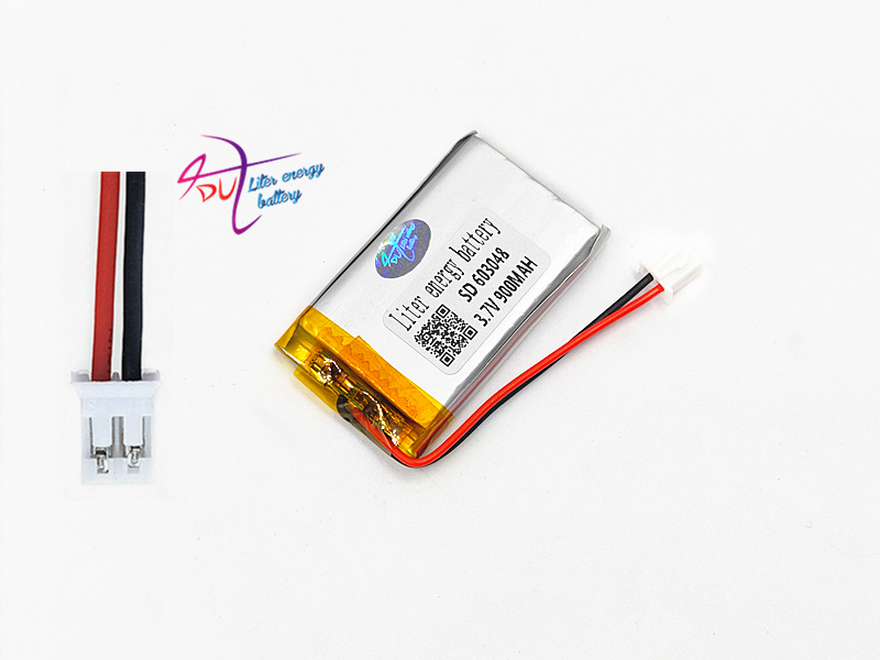 3 7V 900mAh LiPo Lithium Polymer Rechargeable Battery JST PH 2 0mm 2pin  connector 603048 For Mp3 GPS bluetooth camera speaker