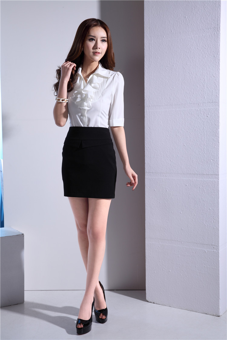 Shirt design ladies 2015 - Aliexpress Com Buy 2015 Summer Short Sleeve Formal Uniform Design Office Suits Blouse And Skirt For Ladies Business Women Tops Shirt Clothing Set From