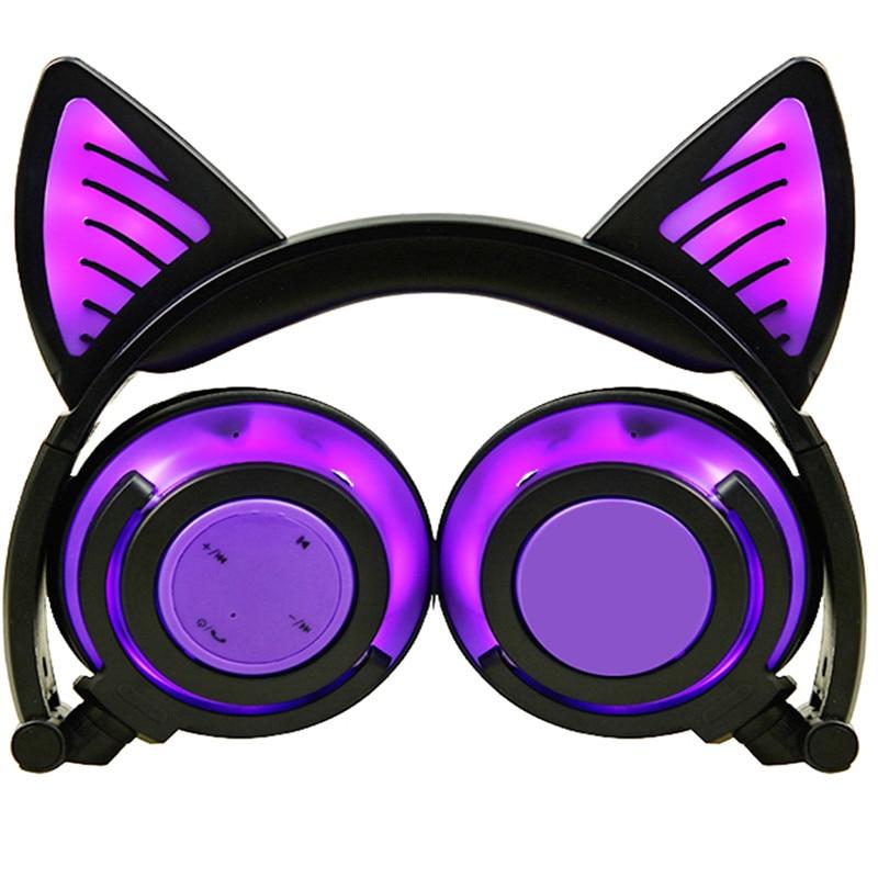 Bluetooth Kids Headphones Wireless Headset Folding Stereo Earphone Over-ear Headband LED Light Up 3.5mm Jack Cable CBW-Purple