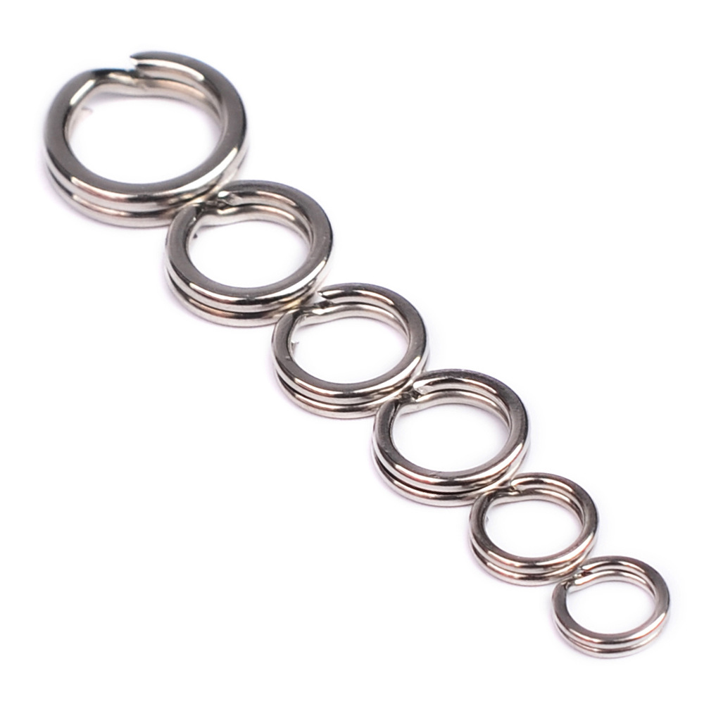 10pcs/lotStainless Steel Ring Split Clip Swivel Double Loop Quick Change Ring Fishing Accessory With Fishing Lure Bait Hook