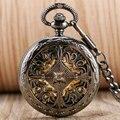 Estilo antigo Oco Pingente Nó Chinês Auto Winding Relógio de Bolso Algarismos Romanos Esqueleto Mecânico Automático Presente Steampunk