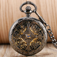 Antique Style Hollow Chinese Knot Pendant Self Winding Pocket Watch Roman Numerals Automatic Mechanical Skeleton Steampunk