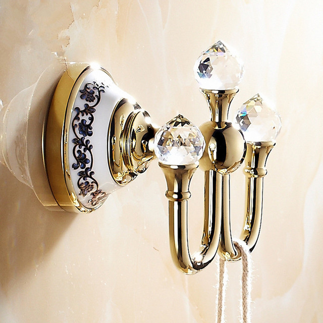 Antique Wall Hook Brass Coat Hooks Luxury Ceramic Crystal Coat Hook / Towel  Hook Bathroom Accessories