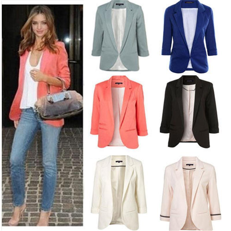 2015 Womens Candy Colors Slim Casual Blazer With Three Quarter Sleeve Notched  Jacket Coat Outwear Plus Size Solid Work Blazer