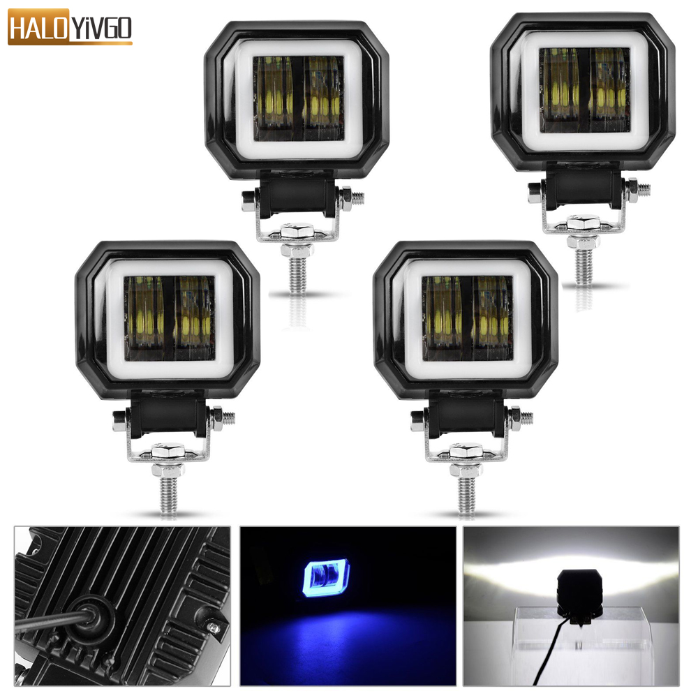 4 Pcs 3inch 20W LED Work Lights Portable Spotlights Angel Eyes Driving Pods Offroad Car Boat
