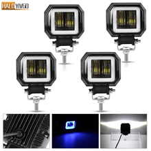 4 Pcs 3inch 20W LED Work Lights Portable Spotlights Angel Eyes Driving Pods Offroad Car Boat Bar Light Motorcycle ATV 6500K