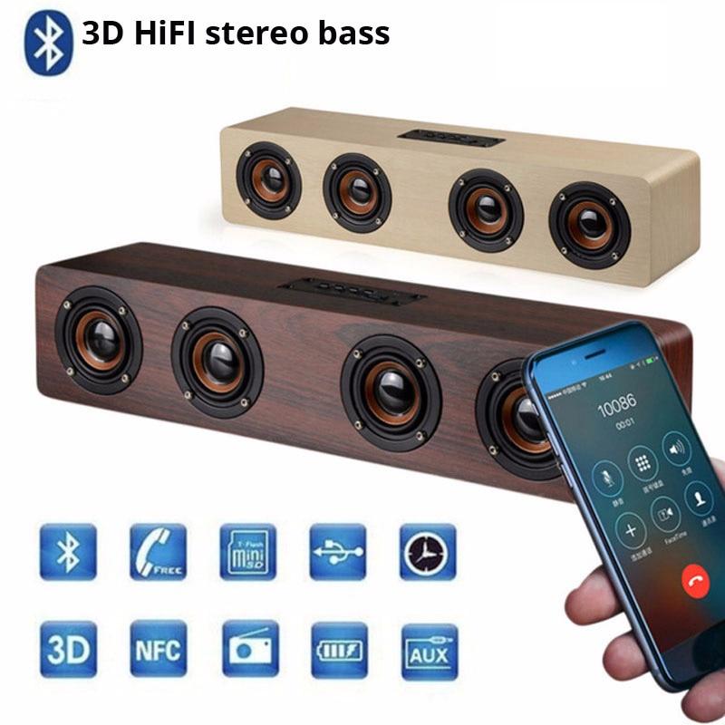 PC TV soundbar en bois Boombox haut-parleur mobile bluetooth sans fil usb center de musique caisse de résonance bar Basse radio caisson de basses pour Xiaomi