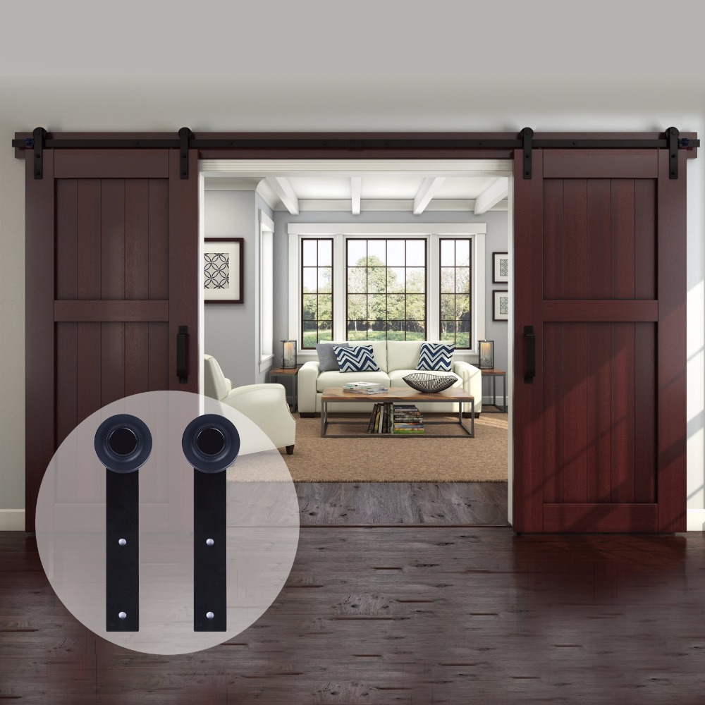 LWZH Antique Style 13FT/14FT/15FT Sliding Wood Door Black Steel Closet Door  Hardware I Shaped Track Kits for Double Door-in Doors from Home Improvement  on ... - LWZH Antique Style 13FT/14FT/15FT Sliding Wood Door Black Steel