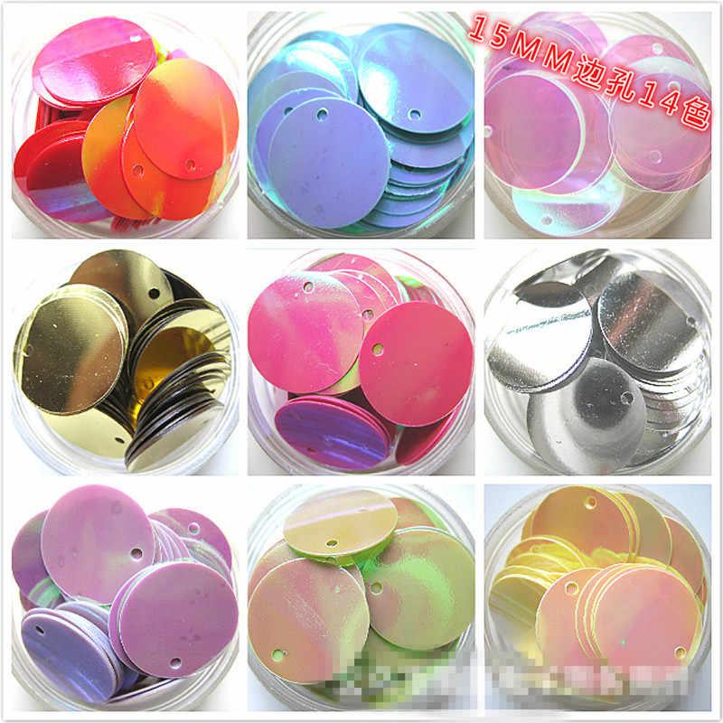 100 sztuk duże płaskie okrągłe cekiny dla majsterkowiczów 15mm boczne koraliki cekiny odzież akcesoria do dekoracji ślubnych 14 kolory korzystać z