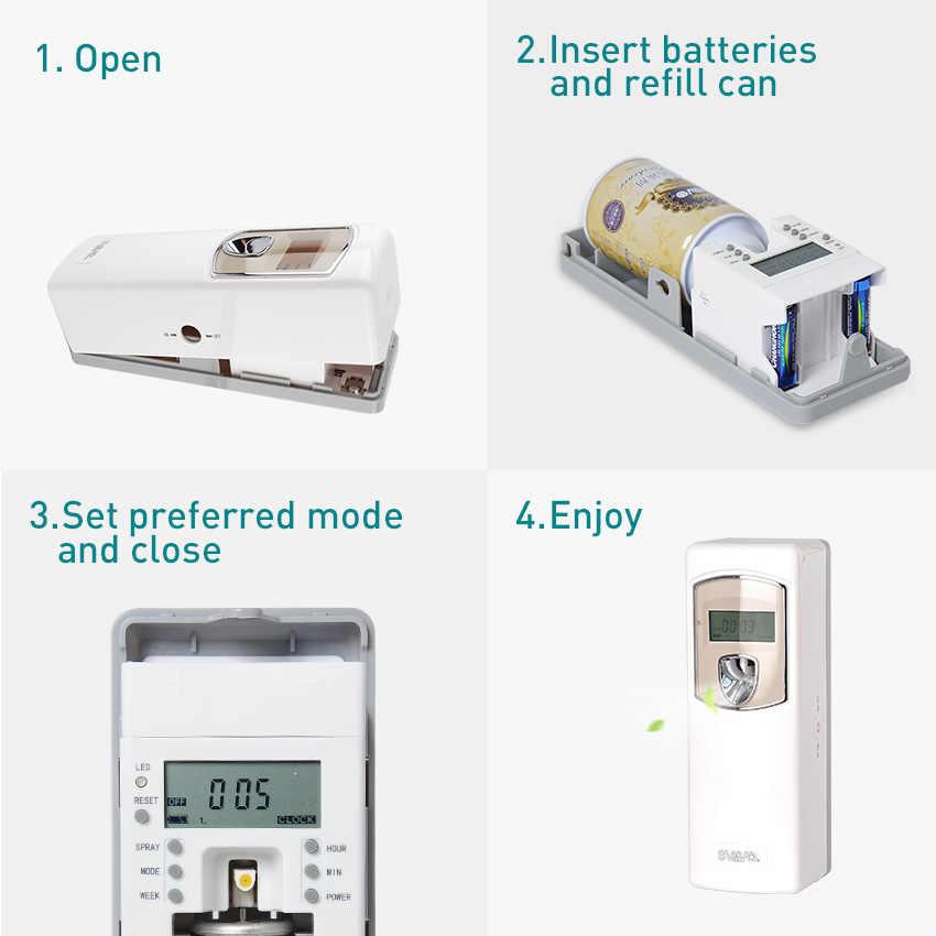 SVAVO automatyczny dozownik aerozolu odświeżacz powietrza do pokoju w domu wc uchwyt ścienny LCD zapach perfum opryskiwacz maszyny V-880D