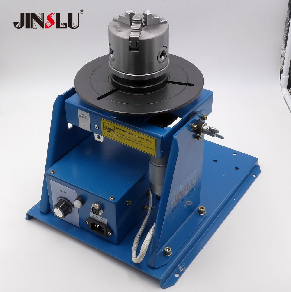 K11-100 100mm Chuck + BY-10 Mini Welding Positioner Turntable 3 Jaw Lathe Chuck Welding Table Semi-automatic Welding