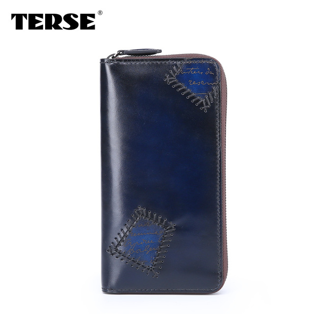 TERSE Wallet Patch unique Luxury Handmade genuine leather Long wallet Fashion purse Business Zipper bag  Customize Logo 446