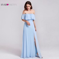 Ever Pretty Women Elegant Sexy Long Bridesmaid Dresses Chiffon A Line Backless Ruffles Formal Wedding Party