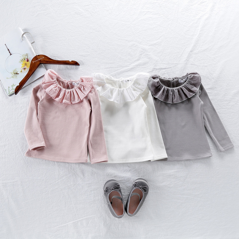 2019 children autumn new Korean fashion lapel long-sleeved T-shirt